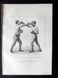 Badminton Library 1889 Boxing Print. Double Lead-Off with the Right